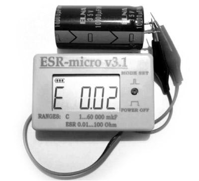 ИЗМЕРИТЕЛЬ ЕМКОСТИ И ESR электролитических конденсаторов ESR-micro v3.1.